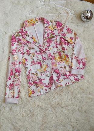 Стильный пиджак летний в цветочек розовый пионы жакет піджак жакет в квіточку білий