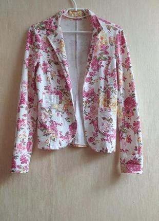 Летний пиджак с пайетками белый в цветочек жакет літній піджак жакет в квіточку білий рожевий