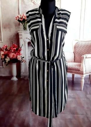 Платье рубашка в полоску 18 р