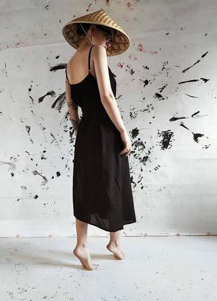 Чёрное платье-комбинация на бретелях rahim itegez studio