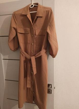 Платье рубашка платье-рубашка с поясом миди макси