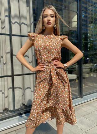 Плаття з квітковим принтом міді платье с цветочным принтом миди