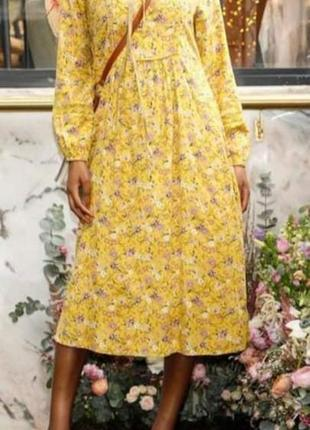 Шикарное платье свободного кроя в цветочный принт