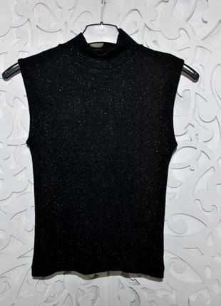 Гольф only без рукавов футболка черная с люрексом мonly германия блестящая нарядная