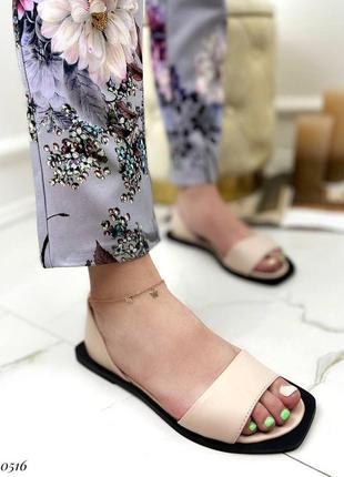 Балетки с открытым носком босоножки натуральная кожа