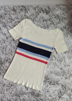 Женская футболка next petite white, женская футболка в рубчик, футболка удлиненная молочная