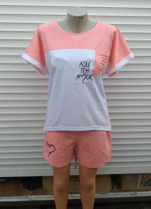 Женский летний костюм футболка + шорты турция 100% cotton