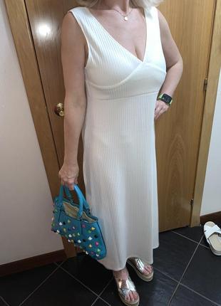 Белое платье сарафан туника молочное платье миди