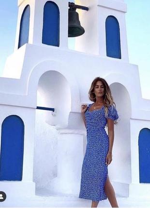 Платье миди синее в горох горошек облегающее рукава фонарики с разрезом zara xs s m