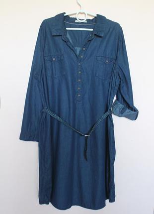 Джинсовое тёмно синие платье, платьице, сукня батал 58-60 р.