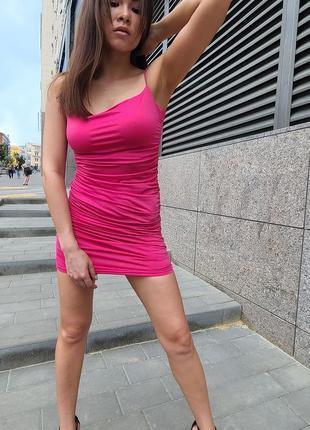 💥 стильное малиновое мини платье