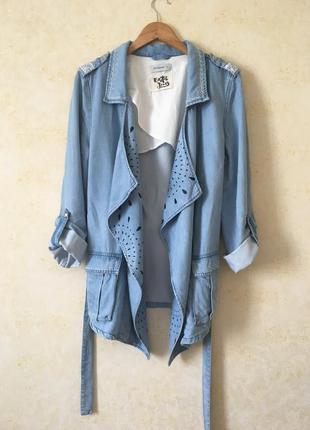 Джинсовая куртка desigual, джинсовый кардиган с поясом на запах, жакет, джинсовка с вышивкой