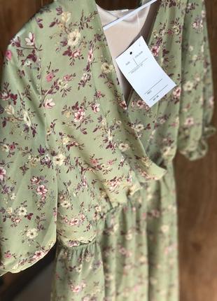 Фисташковое цветочное платье 🌸 платье в цветочек
