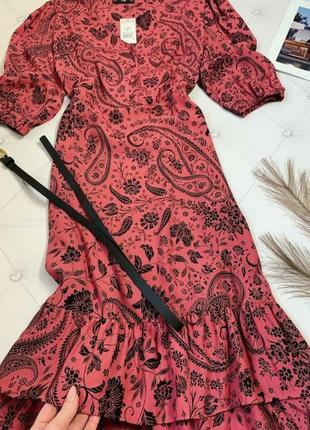 Новое шикарное ярусное платье миди в растительный принт