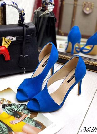 💯 шикарные замшевые босоножки электрик туфли