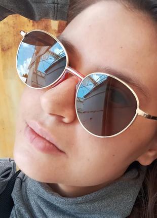 Стильные круглые коричневые очки с литыми носиками