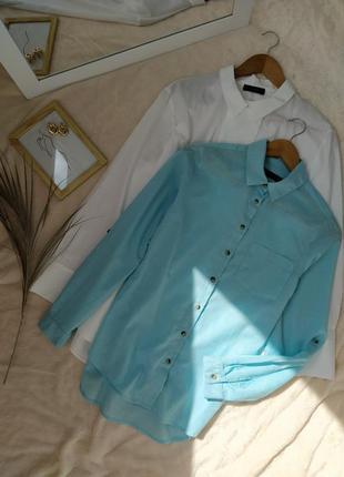 Милая хлопковая рубашка цвета аквамарин marks & spencer
