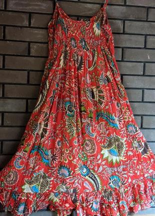 Идеальный натуральный летний сарафан стиль этно бохо принт большой размер xl батл
