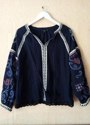 Вышитая блуза коттон/лен в стиле кантри