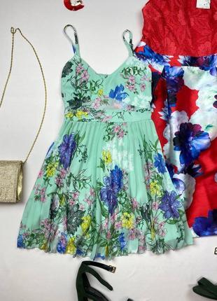 Бирюзовое платье в цветы asos , открытая спина