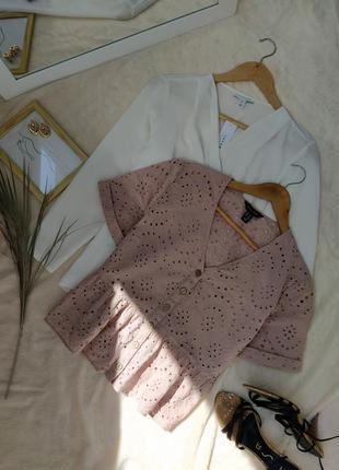 Нежная пудровая блуза из прошвы new look