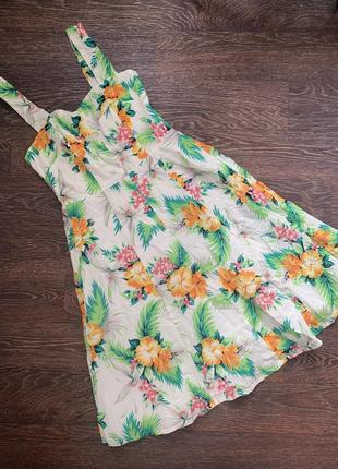 Платье 2021 молочное с растительным принтом хлопок 100%