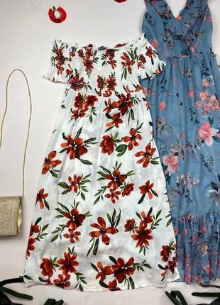 Белое миди платье на плечи в цветы primark , состав вискоза