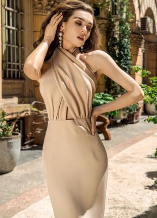 Нарядное платье миди без рукавов с оригинальным верхом на перехрест