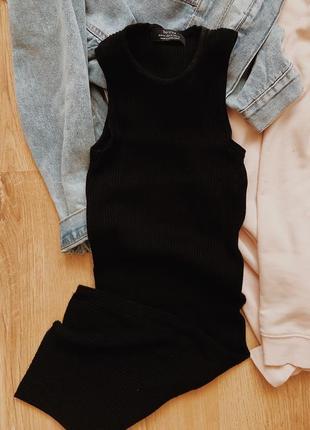 Платье в рубчик в стиле zara,asos сукня чорна