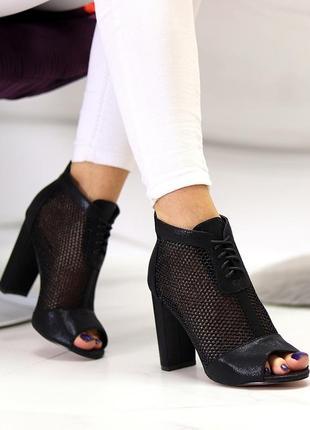 Женские летние черные ботильоны на устойчивом каблуке с открытым носочком