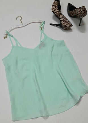 Шифоновый топ лёгкая летняя блуза нежно мятный топ