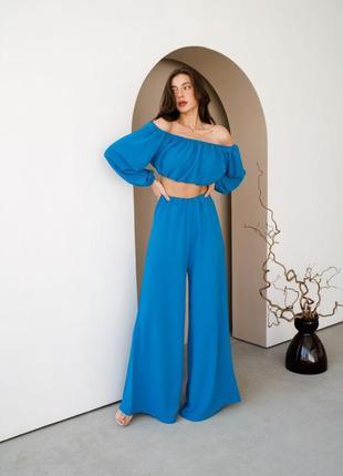 Модный летний женский костюм топ и широкие брюки