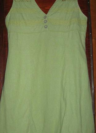 Салатовое платье лен