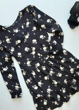Красивое легкое платье свободного кроя принт цветы 20  4хл