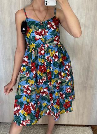 Платье сарафан миди коттон