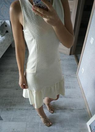 Новое красивое платье миди с рюшей по низу