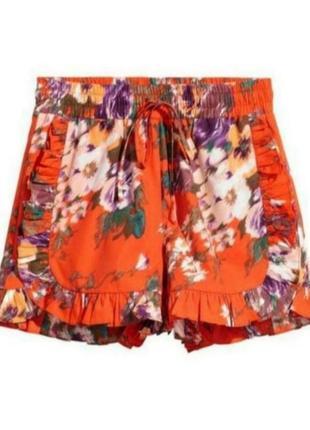 Стильные котоновые шорты с оборками в цветочный принт h&m
