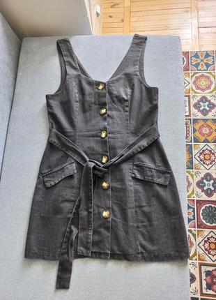 Ленкий джинсовый сарафан с поясом на пуговицах
