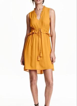 Летнее яркое горчичное желтое платье h&m