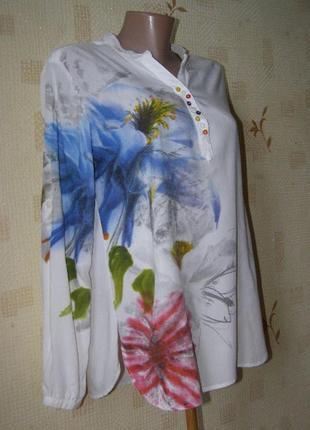 Desigual шикарная блуза 100% вискоза l-xl размер