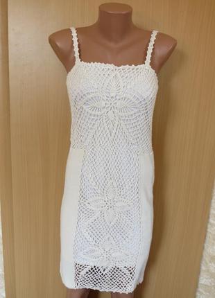 Вязаное белое кремовое натуральное кружевное платье миди от asos