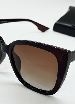 Женские очки солнцезащитные коричневые с поляризацией линзы градиент