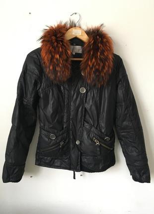 Hermes курточка с натуральным мехом песца