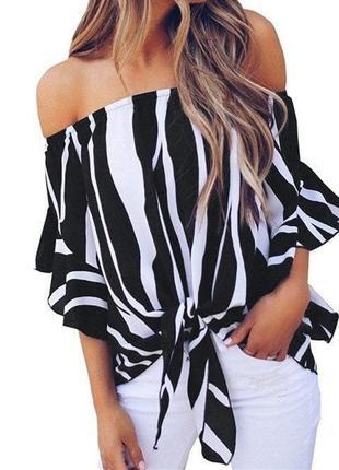 Шифоновая блуза чёрная белая зебра синяя шифон