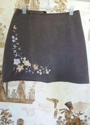 Юбка вышиванка джинс стрейч