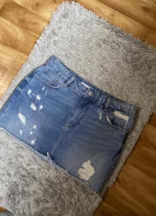 Юбка джинсовая с рваностями zara