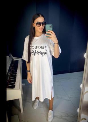 🔥 стильное 🔥 платье футболка  оверсайз хлопок турция принт