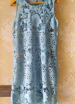 Туника без подкладки на купальник платье кружевное ажурная ажурное мятного m-l 48