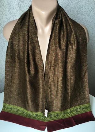 Винтажный статусный мужской шелковый шарф 28*148