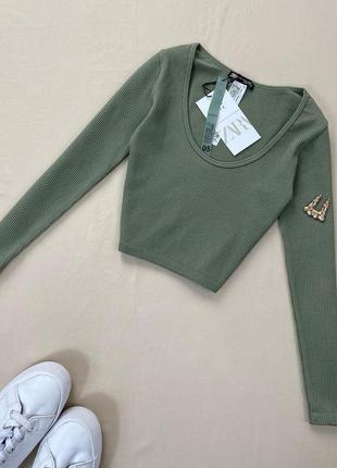 Зеленый / оливковый топ с длинным рукавом в рубчик